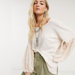 Free People Jade Long Sleeve Top in Ecru